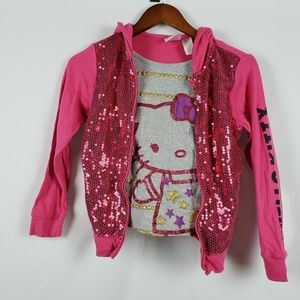 Hello Kitty Sequined Pink & Gray Hoodie Girls L